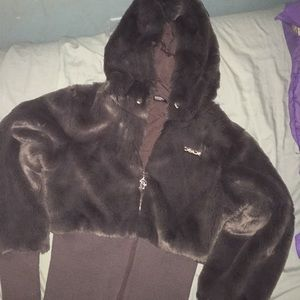 Bebe faux fur zip up jacket
